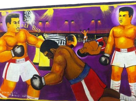 Moke, Sans titre (Match Ali-Foreman, Kinshasa), 1974 Huile sur toile, 88 x 166 cm Collection privée © Moke