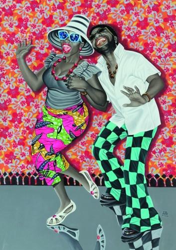 JP Mika, Kiese na kiese , 2014 Huile et acrylique sur tissu, 168,5 x 119 cm Pas-Chaudoir Collection, Belgique © JP Mika Photo © Antoine de Roux